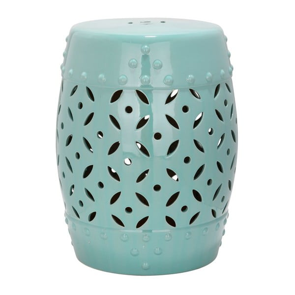 Tyrkysově modrý keramický stolek vhodný do exteriéru Safavieh Lattice Coin, ø33cm