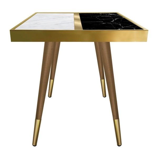 Príručný stolík Caresso Marble Black And White Square, 45 × 45 cm
