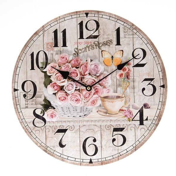 Nástěnné hodiny Light Roses, 34 cm