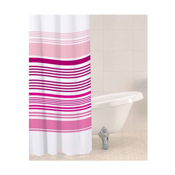 Sprchový závěs Raspberry Stripe, 180x180 cm