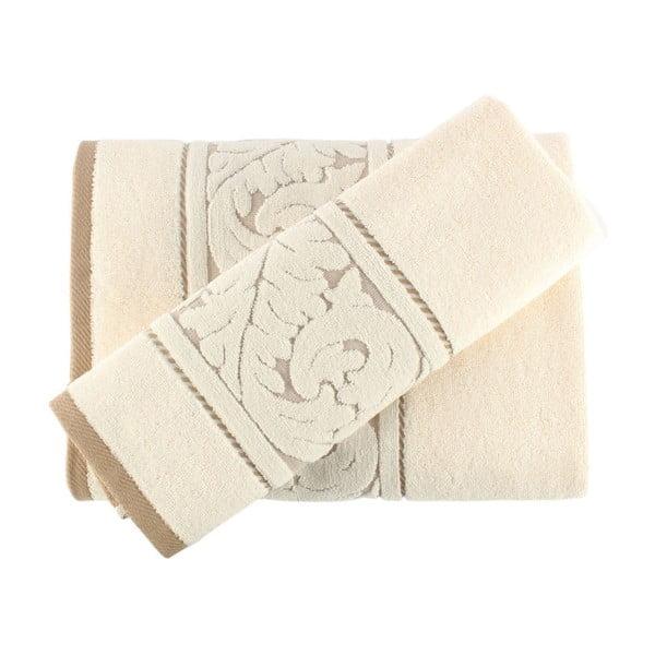 Sultan krém színű pamut törölköző és kéztörlő szett