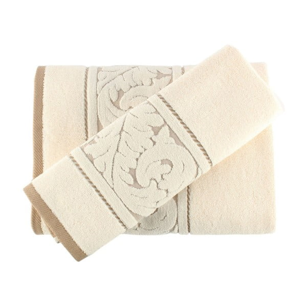 Set krémového bavlněného ručníku a osušky Sultan Cream