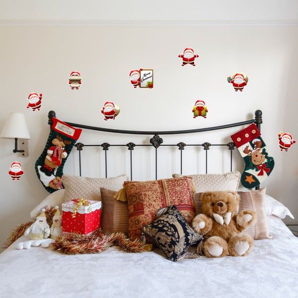 Zestaw 9 naklejek świątecznych Ambiance Funny Santa Claus