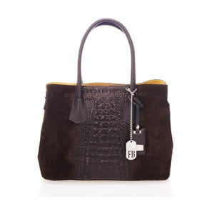 Tmavě hnědá kabelka z pravé kůže Federica Bassi Print