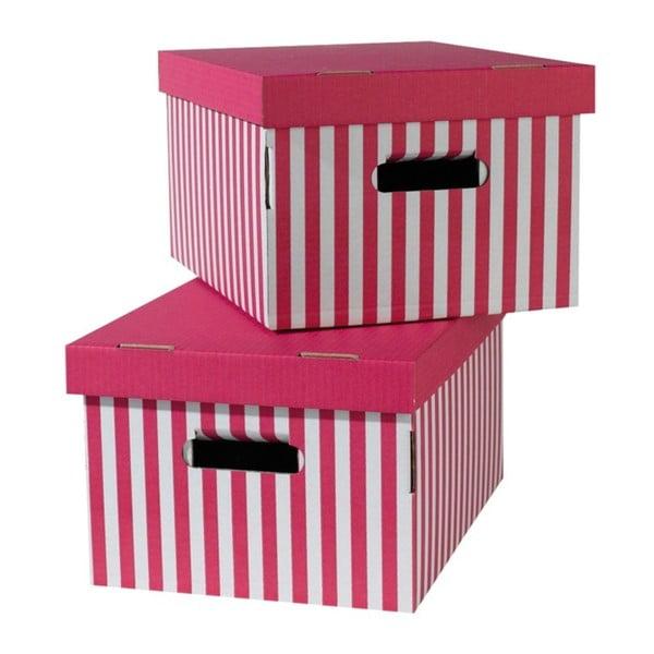 Sada 2 růžových úložných krabic Compactor