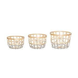 Sada 3 úložných bambusových košíků Hübsch Aila