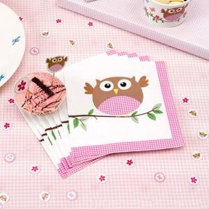 Sada 20 papírových ubrousků Neviti Little Owls Pink