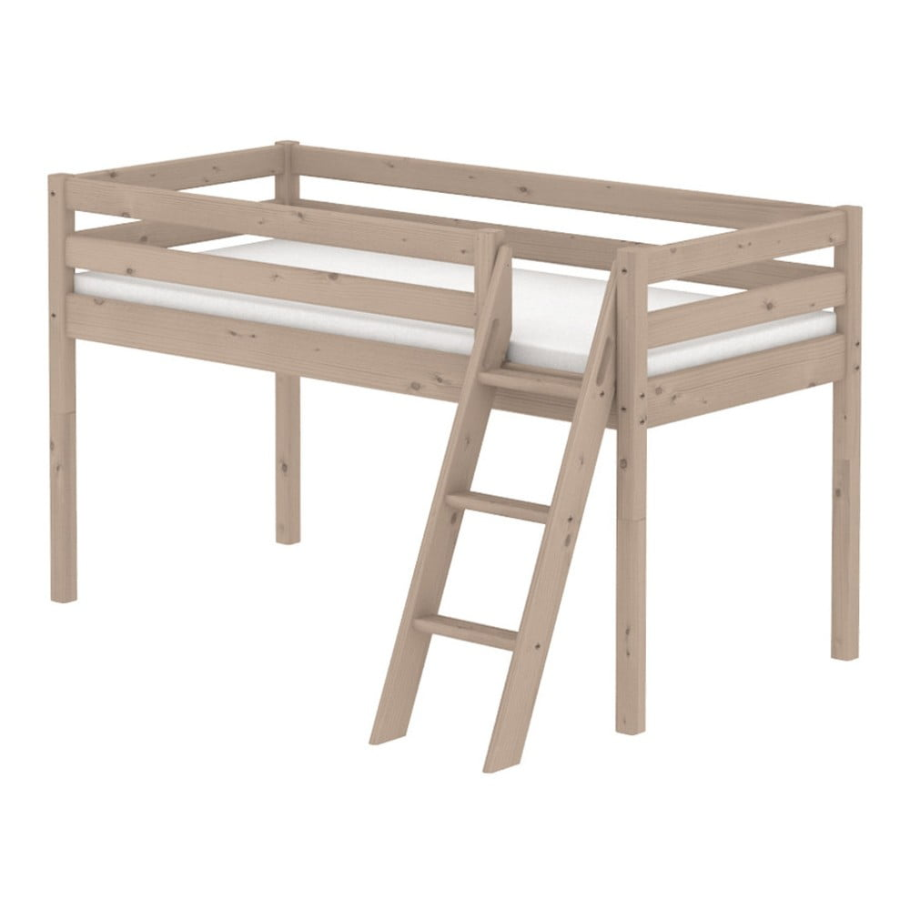Produktové foto Hnědá středně vysoká dětská postel z borovicového dřeva s žebříkem Flexa Classic, 90x200cm