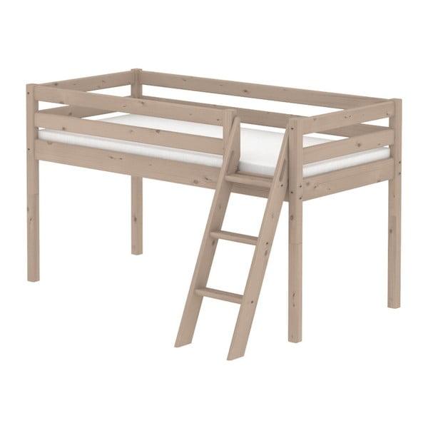 Hnědá středně vysoká dětská postel z borovicového dřeva s žebříkem Flexa Classic, 90x200cm