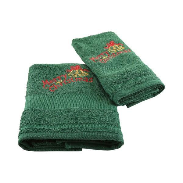 Vánoční set zeleného ručníku a osušky Xmas