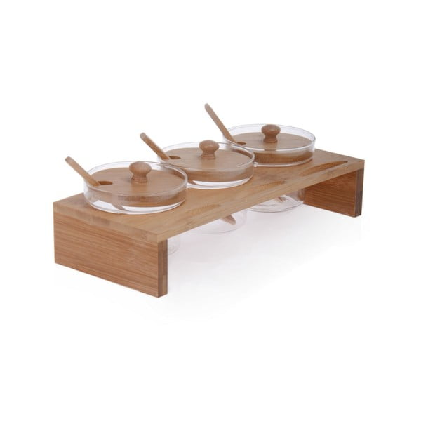 Komplet 3 pojemników szklanych z bambusowym stojakiem i łyżeczkami Ourania