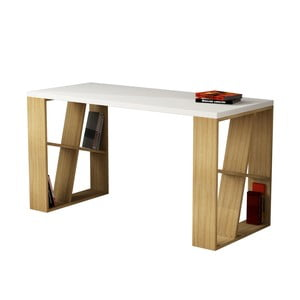 Stůl Honey, bílá/dub