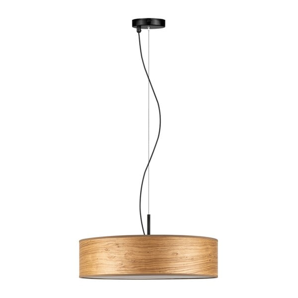 Jasnobrązowa lampa wisząca z abażurem z naturalnego forniru Bulb Attack Ocho