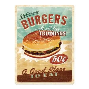 Retro plechová cedule Burgers, 30x40 cm