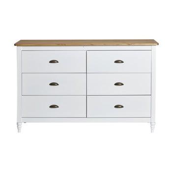 Comodă cu 6 sertare din lemn masiv de pin Marckeric Joyce, alb