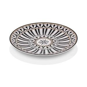 Černobílý talíř z kostního porcelánu The Mia Maroc Rabbat, ⌀ 40 cm