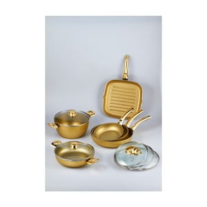 Set 5 pánví a hrnce Bisetti Stonegold Gold Handles