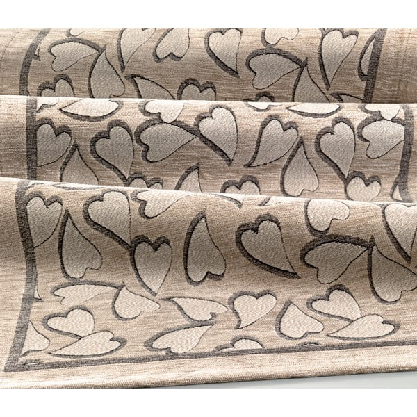 Béžový vysoce odolný kuchyňský koberec Webtappeti Corazon Tortora,55x240cm