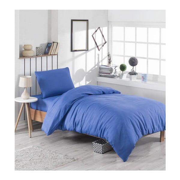 Modré povlečení s příměsí bavlny na jednolůžko Paint, 140 x 200 cm