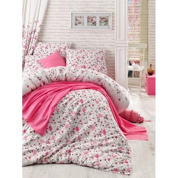 Sada přehozu přes postel, prostěradla a povlaku Flomar Pink, 160x235 cm