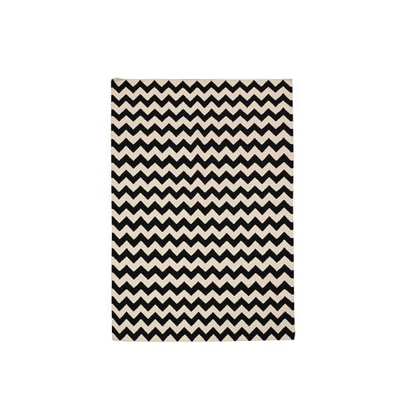 Ručně tkaný koberec Zig Zag Black, 120x180 cm