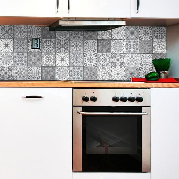 Sada 12 nástěnných samolepek Ambiance Wall Decal Tiles Grey and White Torino, 15 x 15 cm