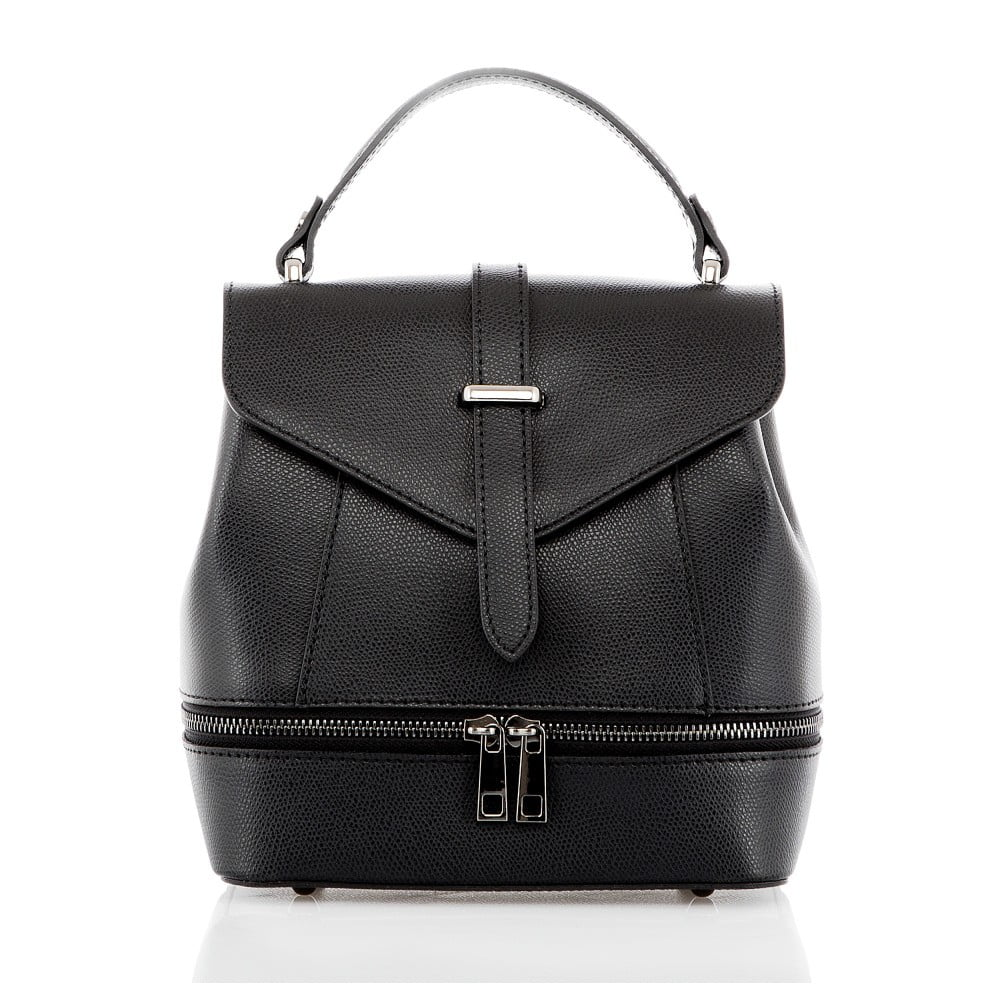 Černý kožený batoh Glorious Black Zinny