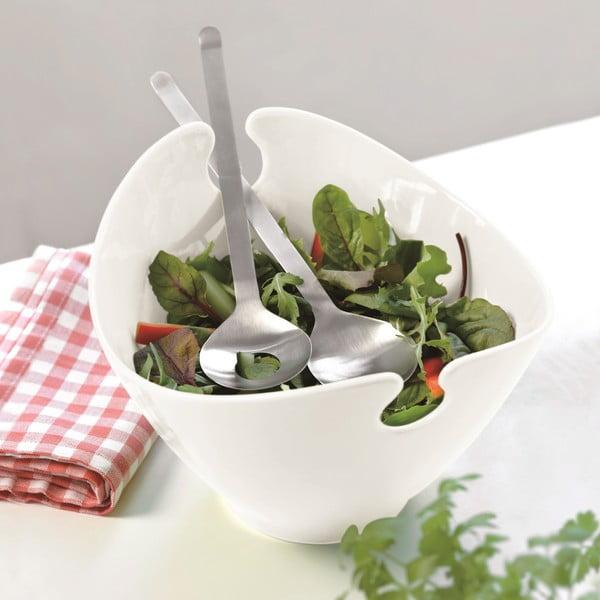 Bol și tacâmuri pentru salată Steel Function Milano, alb