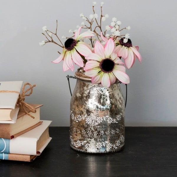 Skleněná váza s umělou květinou Susan, 22 cm