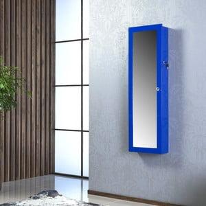 Uzamykatelné závěsné zrcadlo se šperkovnicí Nadia, modré