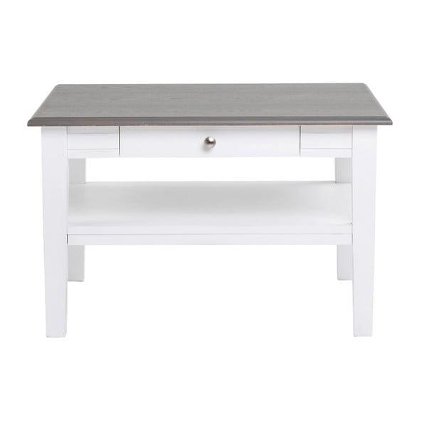 Bílý konferenční stolek s šedou deskou Folke Viktoria, 80x80cm