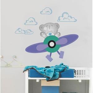 Samolepka na stěnu Medvídek a letadlo, 2 archy, 70x50 cm