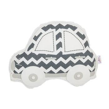 Pernă din amestec de bumbac pentru copii Apolena Pillow Toy Car, 32 x 25 cm, gri - alb imagine