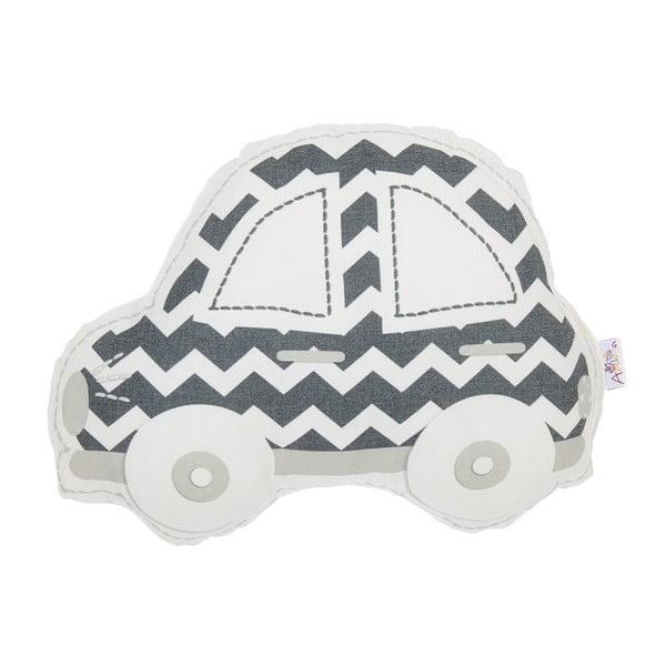 Pernă din amestec de bumbac pentru copii Apolena Pillow Toy Car, 32 x 25 cm, gri - alb
