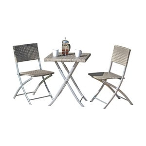 Set 2 šedých zahradních židlí a stolu ADDU Norfolk