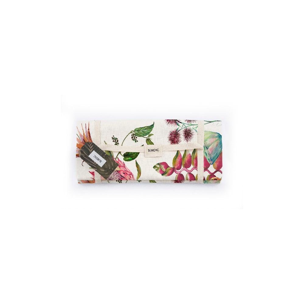 Pikniková deka Surdic Manta Picnic White Flores Salvajes s motivem květů, 170 cm