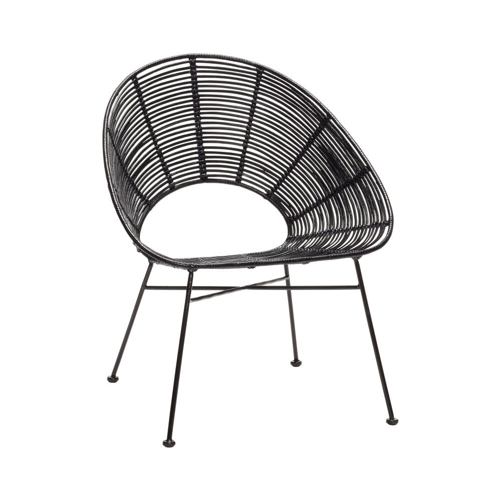 Černá ratanová židle Hübsch Aslog
