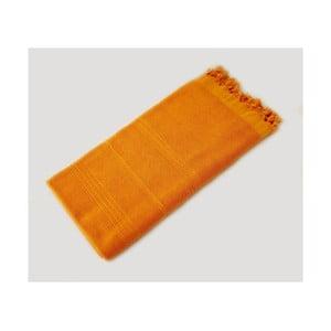 Žlutá ručně tkaná osuška z prémiové bavlny Homemania Turkish Hammam, 90 x 180 cm