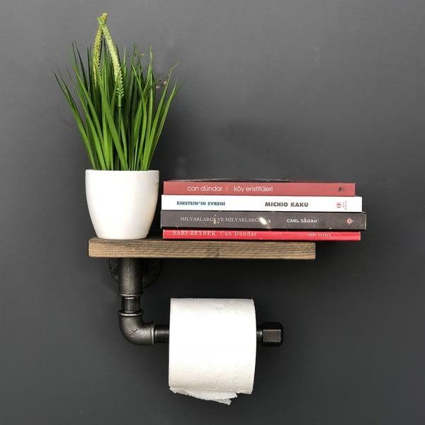 Półka drewniana z uchwytem na papier toaletowy Confetti Bathmats Pipe