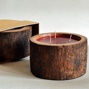 Palmová svíčka Legno Bordeux s vůní exotického ovoce, 100 hodin hoření