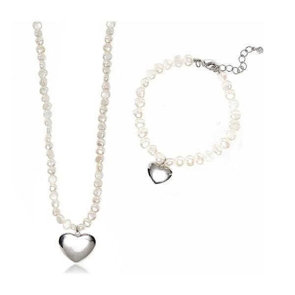 Sada náhrdelníku a náramku z říčních perel GemSeller Pumila