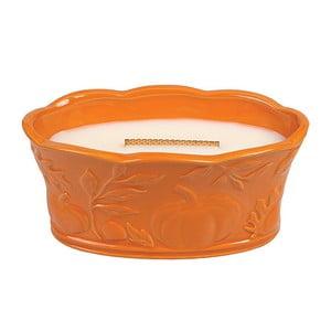 Lumânare parfumată  în vas ceramic WoodWick, aromă de dovleac și mirodenii, 70 ore