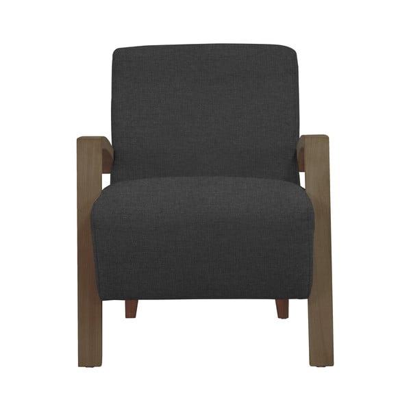 Tmavě šedé křeslo s tmavými nohami Windsor & Co Sofas Luna