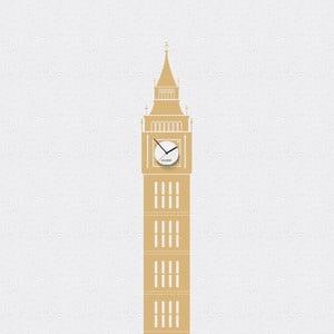 Hodiny se samolepkou Big Ben, béžová
