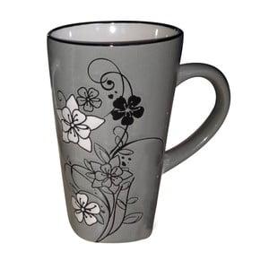 Kameninový hrnek Flower Grey, 0.5 l