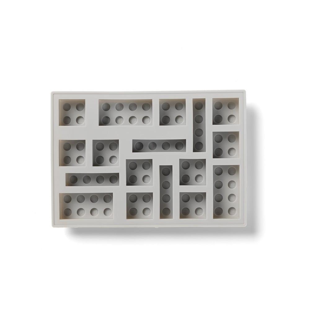 Šedá silikonová forma na led ve tvaru dílků LEGO®