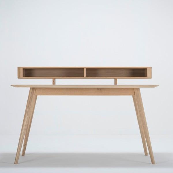 Pracovní stůl z masivního dubového dřeva s policí Gazzda Stafa