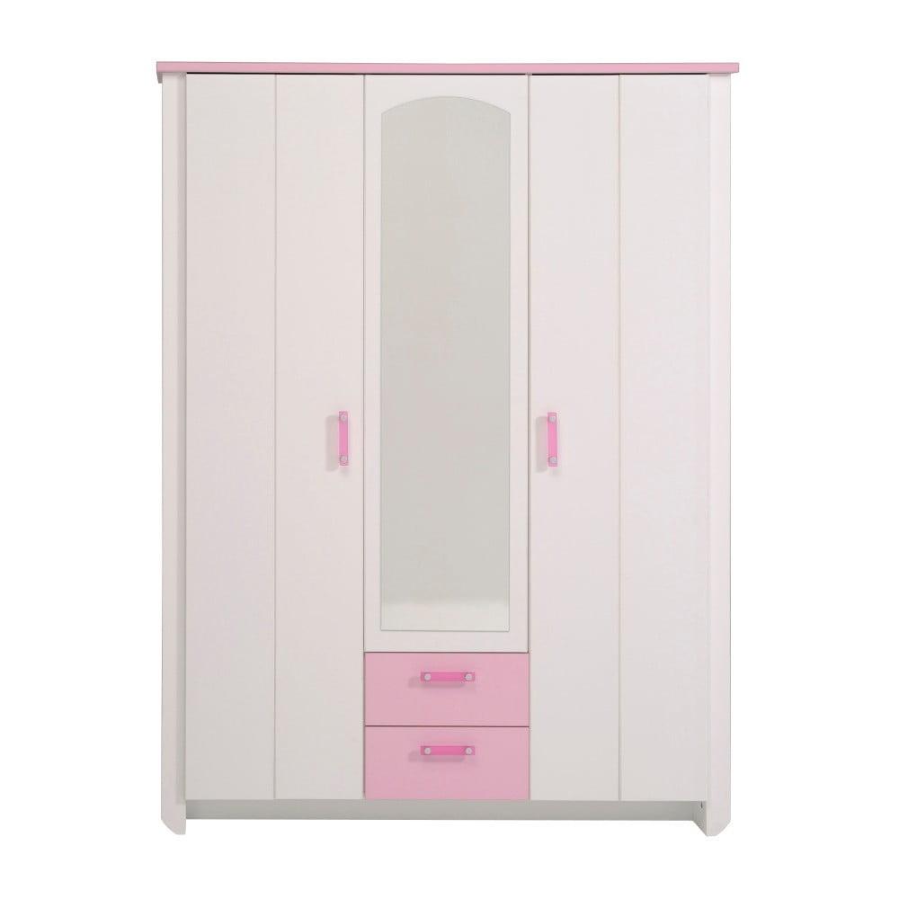 Růžová třídveřová šatní skříň se zrcadlem Parisot Amabelle