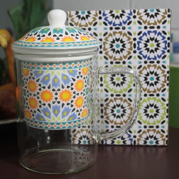 Skleněný hrnek se sítkem Maroko B, 450 ml