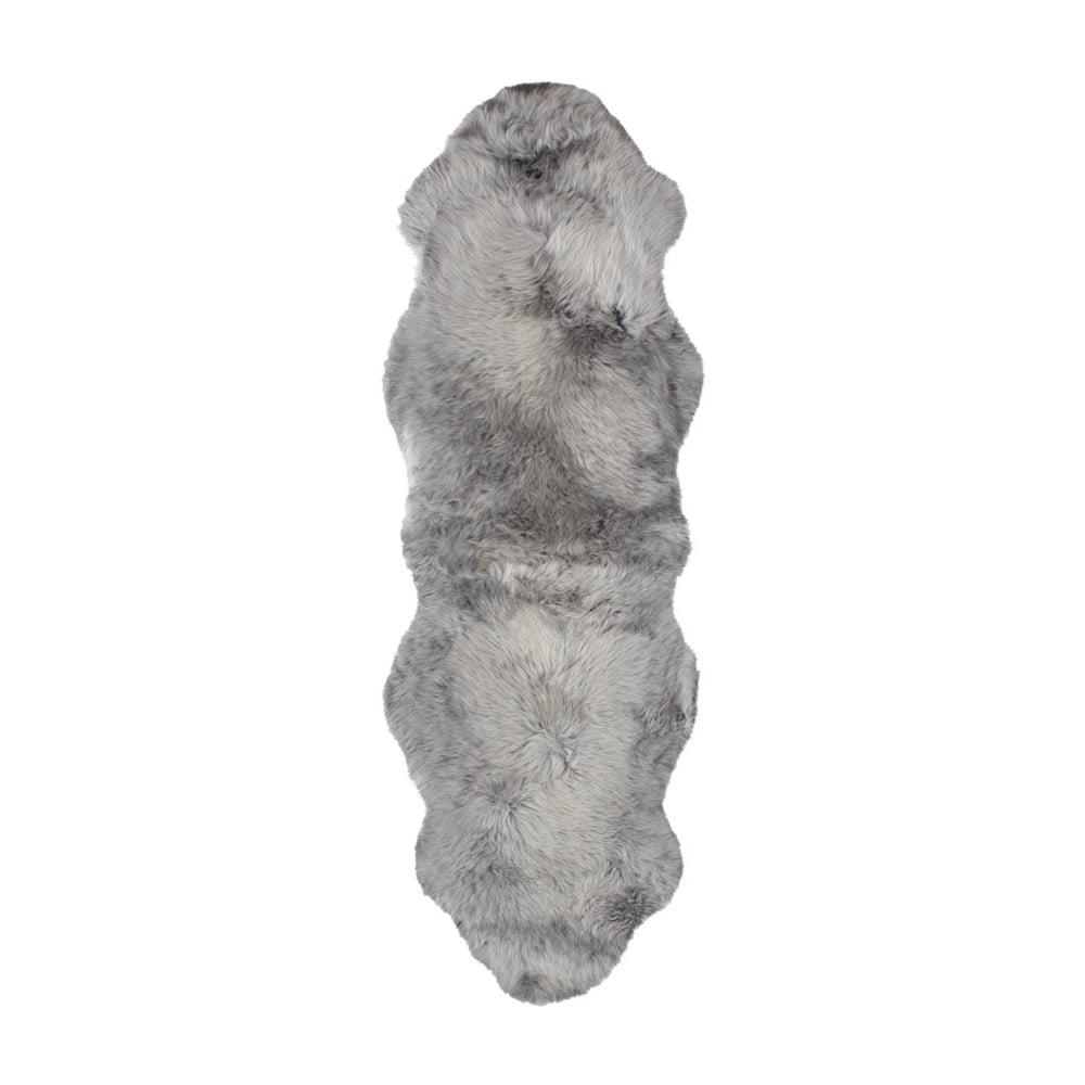 Šedý vlněný běhoun z ovčí kožešiny Auskin Slaven, 60 x 180 cm